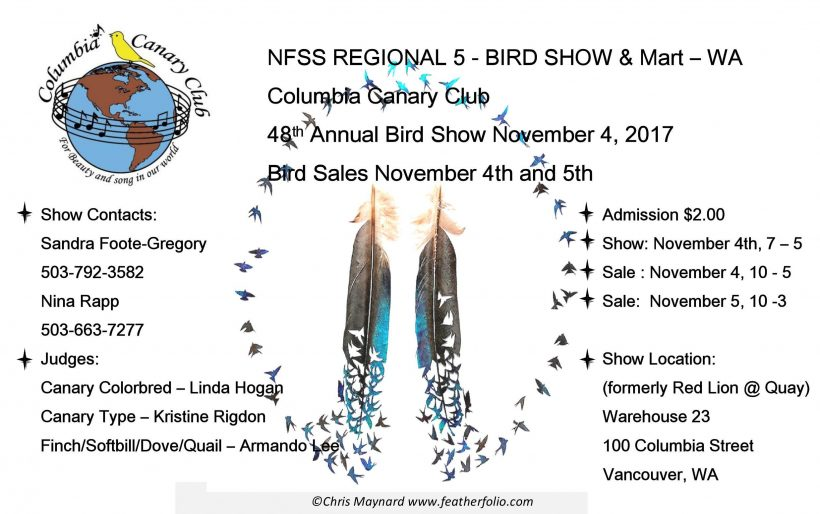 Regional Show:  Columbia Canary & Finch Show – 11/4/2017
